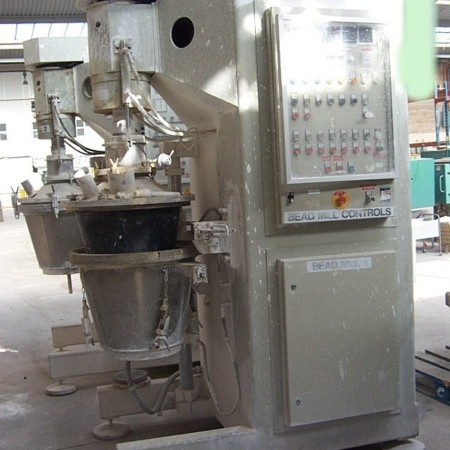 Two used NETZSCH Model SME 200 Annular Gap Mill, suitable for continuous production of ceramic glaze 30Kw drive.