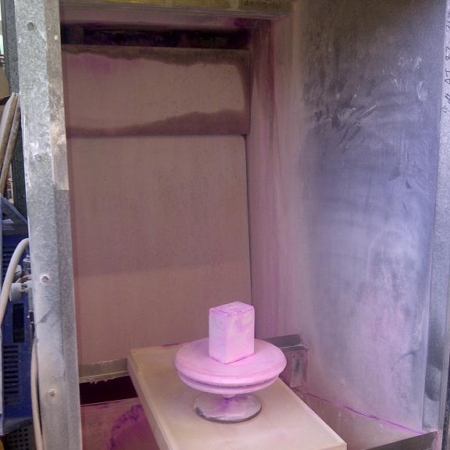 One DYNACLEAN wet back spray booth.