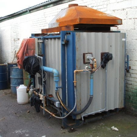 DIS gas kiln, 50 cu ft, 1300 oC, complete with one car, two burners and controls.