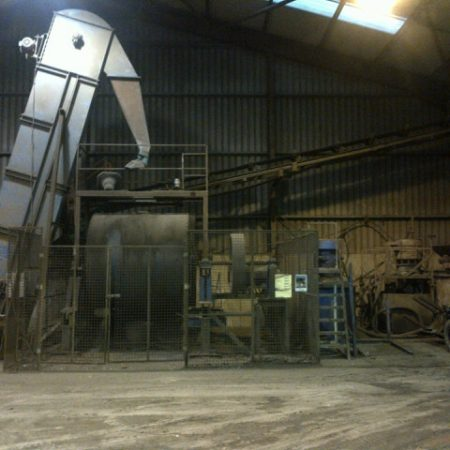 "William Boulton 7 ft diameter x 7 ft long ceramic lined Ball Mill complete with ""A"" frame stands, drive and loading platform plus feed conveyor."